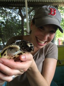 Meredith with turtle